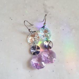 Iridescent Purple Crystal Dangle Earrings